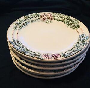 Set-Of-6-NEW-Ambiance-VINTAGE-PINE-Dessert-Salad-Plate-8-1-4