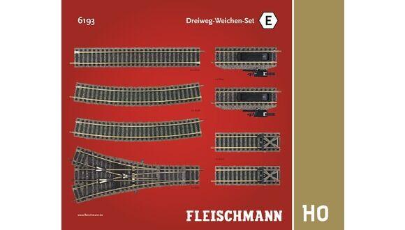 Fleischmann 6193 Dreiwegweichen Set E H0