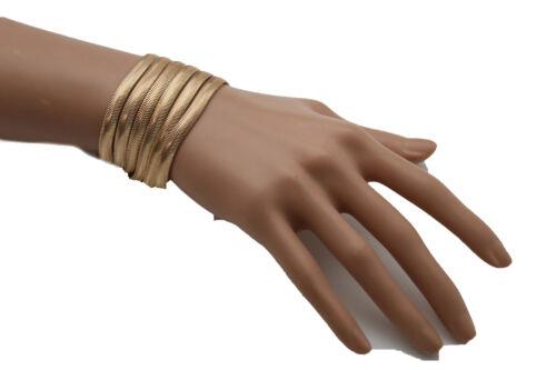 Femme Mode Bracelet Large Métal 5 Brins Bling Bande Chic Bijoux Dressy Style