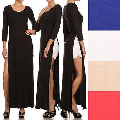 Sexy Round Neck Long Sleeve Tee Shirt Double Bodice High Split Open Maxi Dress