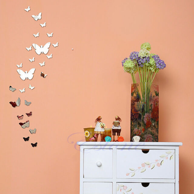 25Pcs Butterfly Modern Plastic Mirror Wall Home Decal Decor Vinyl Art Stickers