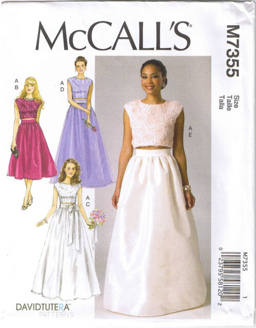 Mccall\'s David Tutera 7355 Miss Prom Party Crop Top Gathered Skirt ...