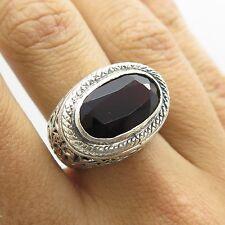 Signed Vtg 925 Sterling Silver Large Natural Red Garnet Gemstone Ring Size 6