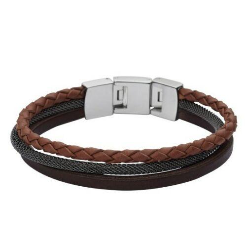 Fossil JF02213 Herren Armband Edelstahl Leder braun schwarz 21 cm