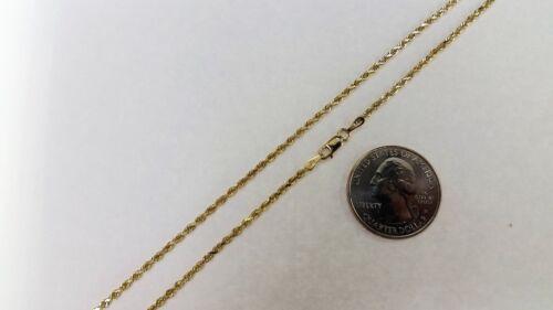 """14K OR MASSIF JAUNE Corde Chaîne Collier 1.5 mm ~ 9 mm 14/"""" ~ 30/"""" Pour Hommes Femmes"""