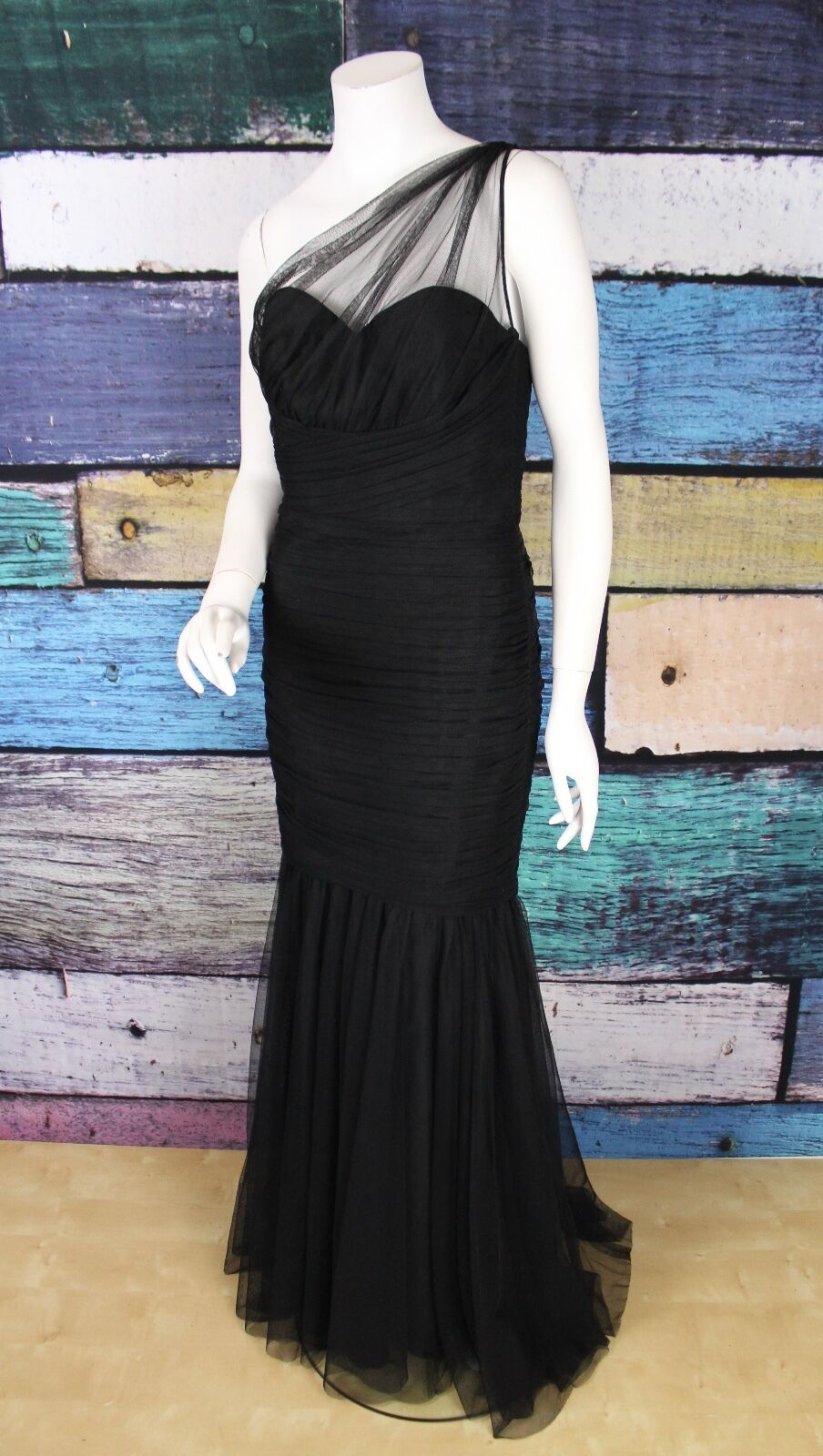 Amsale Black Mesh Ruched One Shoulder Mermaid Formal Evening Gown ...