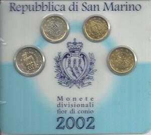 SAN MARINO 2002 sous blister 2 Euros +1 Euro + 50 Cts + 20 Cts