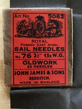 25pcs Steel Sailmaker Needles 1pk John James /& Sons Vintage #14 SURVIVAL HEAVY