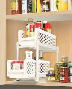 Image Is Loading 2 Tier Portable Basket Drawers Bathroom Kitchen Space
