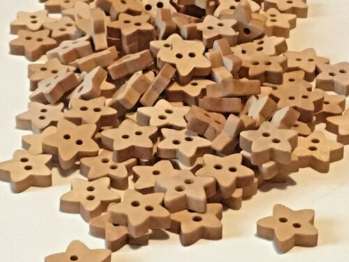 20 Tiny Stars Wooden Craft Buttons 10mm.