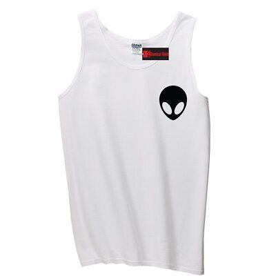 Alien Face Chest Print Mens Tank Top Cute Alien Space Nerd Geek UFO Sleeveles Z3