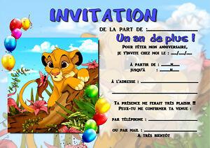 Détails Sur 5 Ou 12 Cartes Invitation Anniversaire Le Roi Lion Réf 310