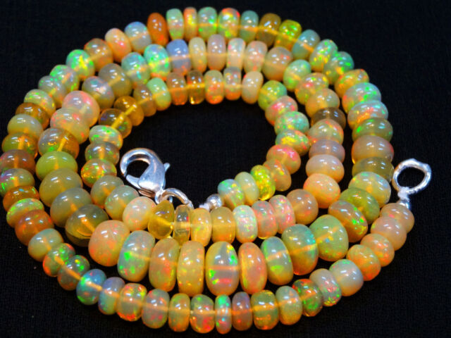 "80.90cts.16"" ULTIMATE QUALITY ETHIOPIAN OPAL BIG BEADS RONDELLE NECK. 5--7.5 MM"