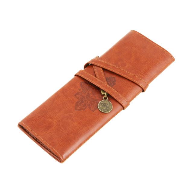 PU Leather Vintage Pencil Case Bag Pocket Crochet Knitting Needle Hook Case New