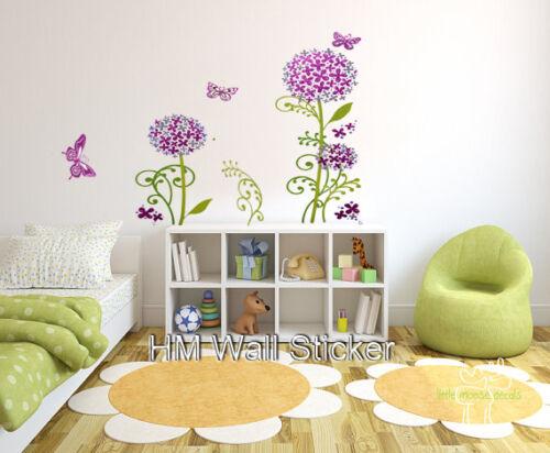 GLITTER HYDRANGEA FLOWER /& BUTTERFLIES wall sticker for home kids room// nursery