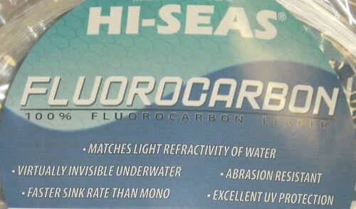HI-SEAS 100/% FLUOROCARBON LEADER LINE CLEAR 100 LB 25 YARDS COIL 400 LB