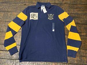 Stripe Rowing Rugby Patch Ralph Lauren Ls Custom Blue Fit Polo Club lT1FJ3Kc