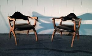 Mid Century Vintage Butaque Chair Set Curved Arms Black Vinyl Bentwood w/Wear