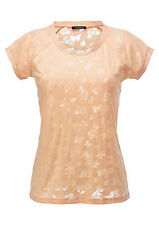 Aniston Heine Shirt Ausbrenner Rundhals Kurzarm Pailletten Apricot Neu 38