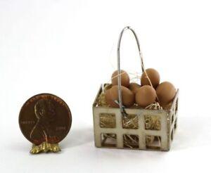 6 Each Miniature Economical Brown and White Eggs DOLLHOUSE Miniatures 1:12