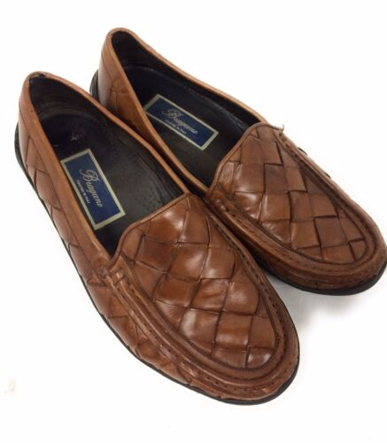 Bragano Mens Leather Woven Loafer Shoes Brown Size