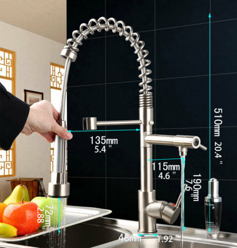 AS Dual Spout Swivel Pull Down Kitchen Faucet Basin Sink Mixer Tap Nickel Brush