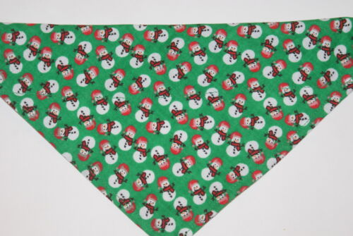 Dog Bandana OVER THE COLLAR,clothes pet Snowmen on Green! S,M,L,XL