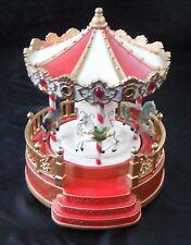 Rotating 4 Horse Circus Carnival Carousel Music Box w/LED Lights 3 AA Batteries