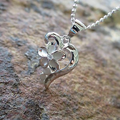 Heart Plumeria Flower Hawaiian Jewelry Genuine Silver Pendant Necklace #SP86928