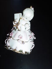 *Adorable Lefton China (Ribbon Dress Girl Holding Present) Collectible Figurine