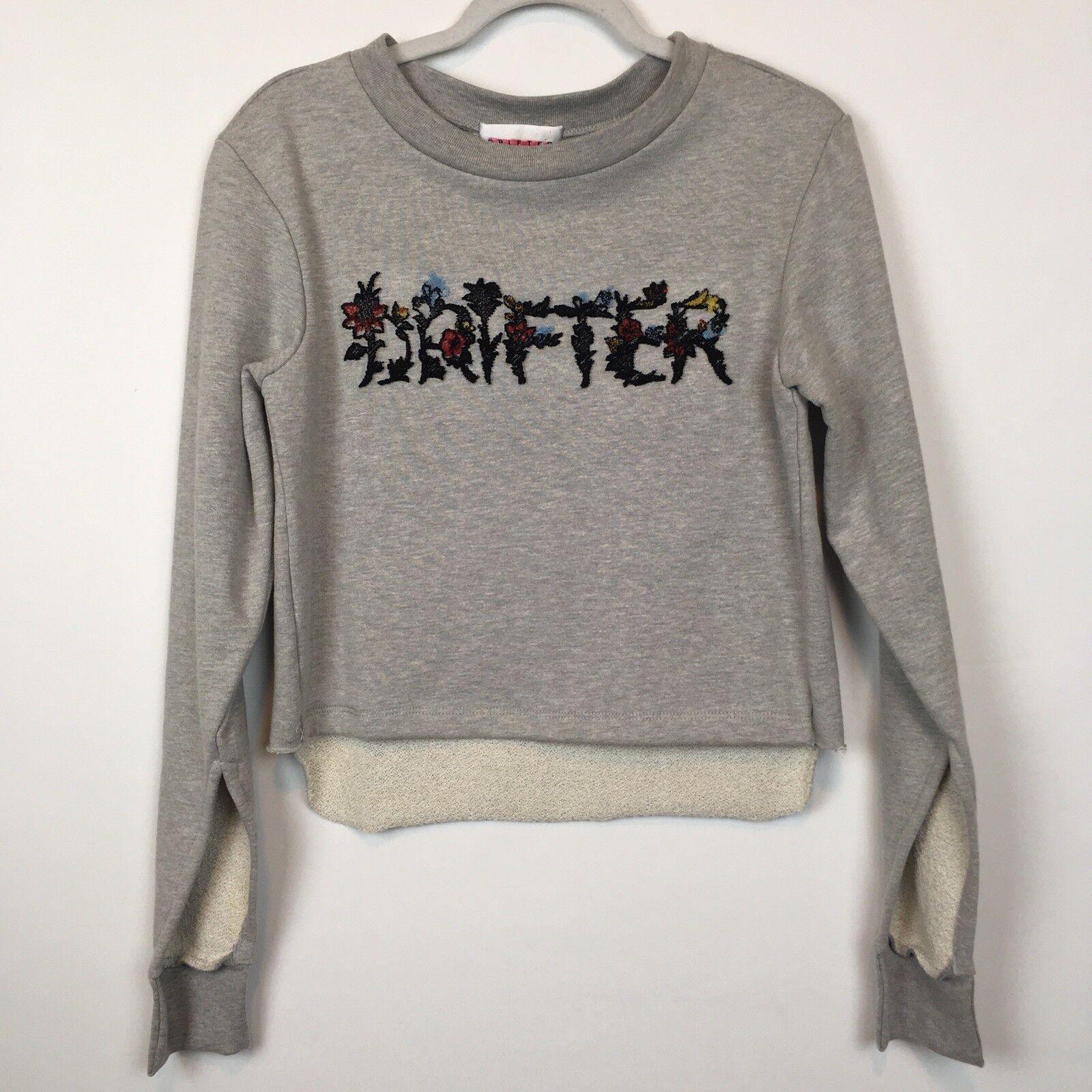 Drifter Womens Crop Sweater Drifter Embroidered Design Design Design W  Slit Long Sleeve Sz S 989b1c