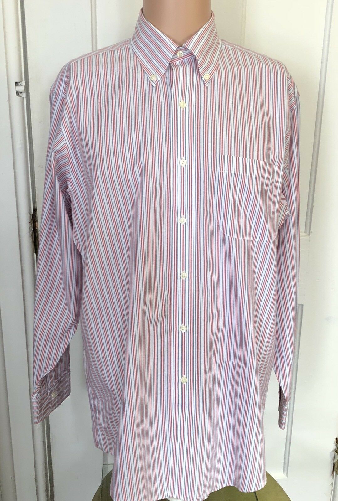 Brooks Bredhers Shirt Mens Size 15.5 33 Long Sleeve Red bluee Stripe 15 1 2