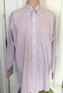 Brooks-Brothers-Shirt-Mens-Size-15-5-33-Long-Sleeve-Red-Blue-Stripe-15-1-2