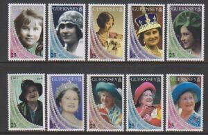 Guernsey - 1999, Life & Times of the Queen Mother set - MNH - SG 817/26