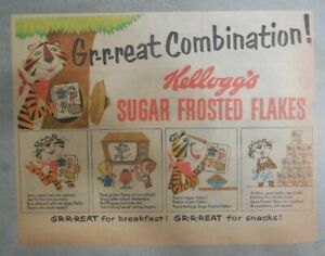 Kellogg's Cereal Ad:Tony The Tiger Great Combination! from 1950's 7 x 10 inches