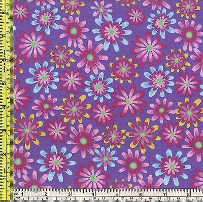 Flower Power Daisy Petal Red Calico Sewing Cotton Marshall Fabric BTQY off bolt