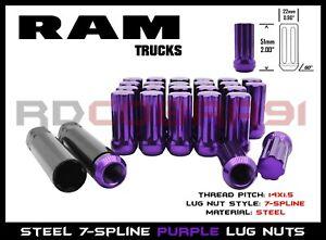 "Dodge Ram 2012-2019 2500 3500 Dually 8x6.5/"" Purple 32PC 7 Spline Lug Nuts"