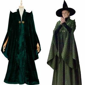 Cosplay Minerva McGonagall clothing dark green cloak COS