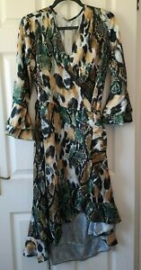Made-In-Italy-Women-039-s-Mixed-Animal-Ruffle-Midaxi-Dress-Size-14-New-With-Tags