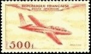 FRANCE-TIMBRE-STAMP-POSTE-AERIENNE-32-034-AVION-FOUGA-MAGISTER-500F-034-NEUF-XX-LUXE