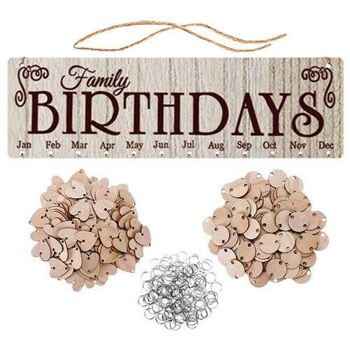 Family Birthday Board Plaque DIY Hanging Wooden Birthday Reminder Calendar Gifts