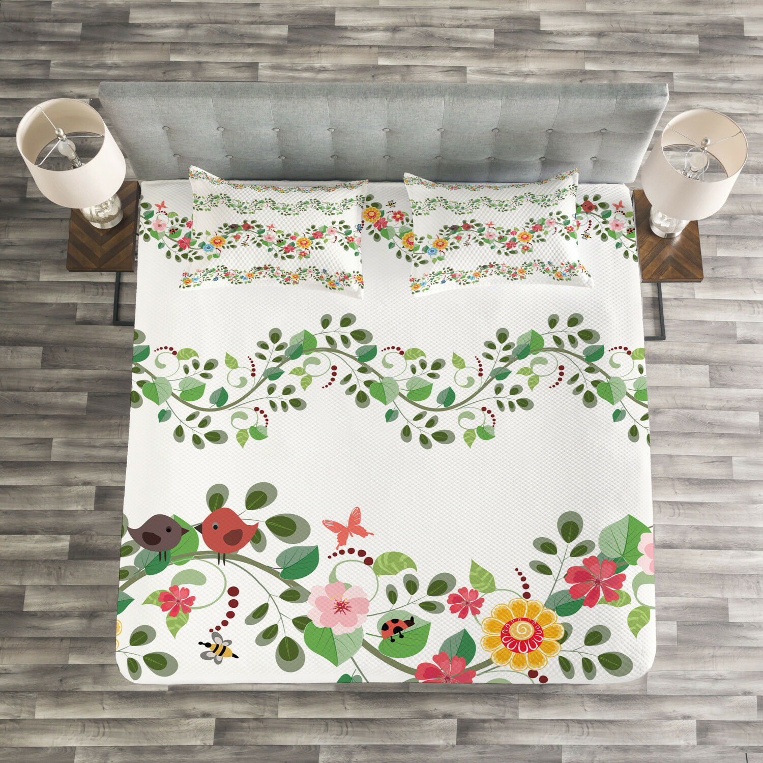 Green Flower Quilted Bedspread & Pillow Shams Set, Romantic Pattern Print