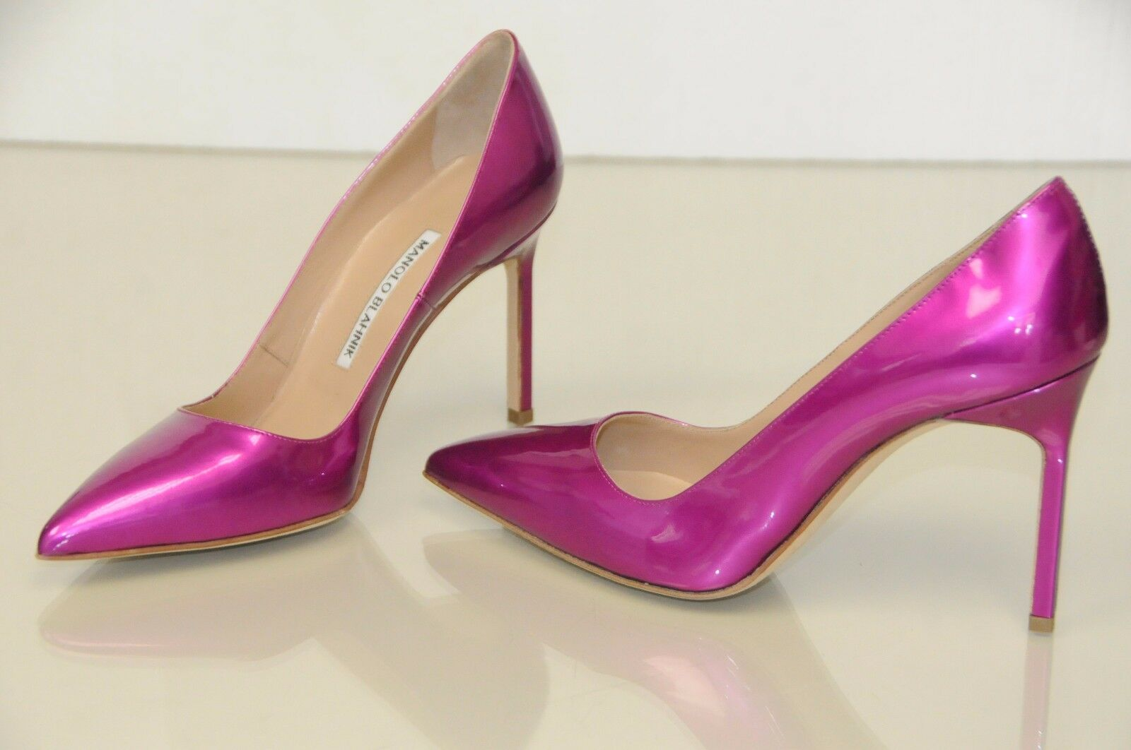 New Manolo Blahnik BB 105 Pink Pearly Patent shoes Pumps 36 36.5 38.5 39.5 40