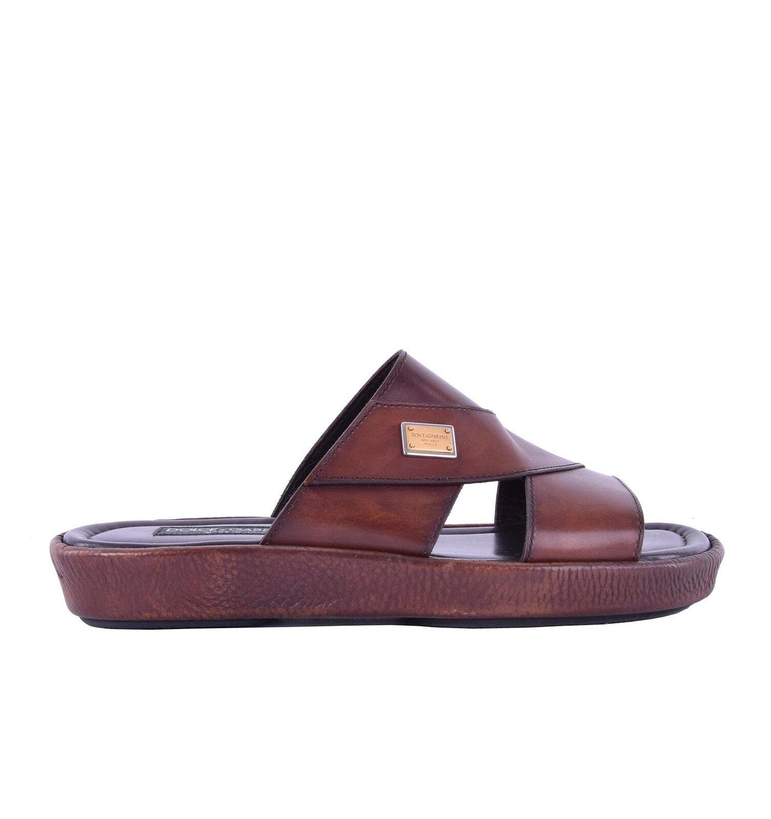 DOLCE & GABBANA Patent Leather Logo Sandals MEDITERRANEO Brown Shoes 05224