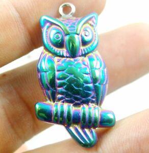 Titanium-Hematite-hand-Carved-owl-Gemstone-pendant-beads-necklace-C19