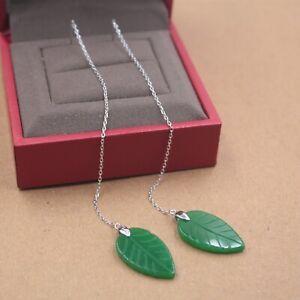 Pure-S925-Sterling-Silver-Women-Jade-Jadeite-Leaf-Chain-Dangle-Earrings
