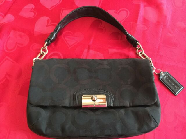 coach kristin signature satin clutch handbag purse w leather rh ebay com