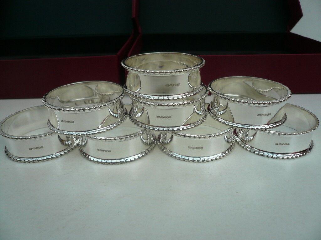 8 anneaux de serviette en argent sterling, écossais, hallmarked, serviette, boxed, new