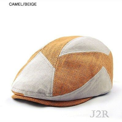 J2R New Hemp Cotton Blended Patch Newsboy Driving Golf Flat Hats Cap JRH094