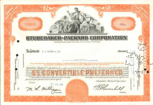 Studebaker Packard Corporation old automobile car orange stock certificate share